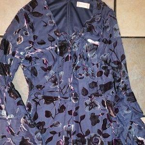 Altar'd State Bell Sleeve Velvet Floral Dress